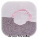 Enfant - bavoir double - gris et imp licorne rose03 - GFC