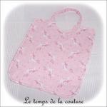 Enfant - bavoir double - gris et imp licorne rose04 - GFC