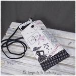 Pochette - telephone - parisienne pois noir01