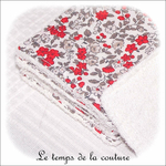 Sdb - lingette bambou - rouge et gris petite fleur03 - GFC