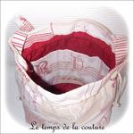 Sac - seau -  écru jacquard bordeaux motif lettre03 - GFC
