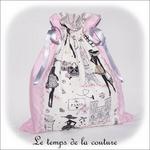 Sac - pochon - rose pois croquet gris pois centre imp parisienne01 - GFC