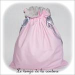 Sac - pochon - rose pois croquet gris pois centre imp parisienne04 - GFC