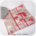 Cuisine - Sac - tarte - beige rouge taupe imprimé poule et oeuf01 - GFC