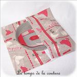 Cuisine - Sac - tarte - beige rouge taupe imprimé poule et oeuf02 - GFC