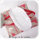 Cuisine - Sac - tarte - beige rouge taupe imprimé poule et oeuf03 - GFC