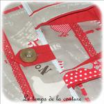 Cuisine - Sac - tarte - beige rouge taupe imprimé poule et oeuf04 - GFC