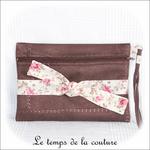 Pochette - droite - zippé - marron simili fleur rose et noeud01 - GFC