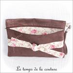 Pochette - droite - zippé - marron simili fleur rose et noeud02 - GFC