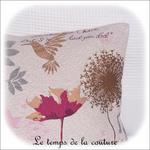 Coussin - écru et creme jacquard colibri rectangle02 - GFC