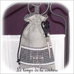 Cuisine - Sac ficelle - gris noir et blanc à carreaux01 - GFC