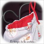 Sac pochon - gris rouge motif animaux03 - GFC