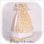 Sac linge - jaune fleuri mini rose rose jaune broderie angalise et noeud04 - GFC