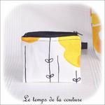 Pochette - droite - zippé - noir  jaune blanc rond ikea01 - GFC