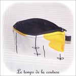 Pochette - droite - zippé - noir  jaune blanc rond ikea03 - GFC