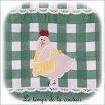 Cuisine - Sac - pain - vert à carreaux avec poule02 - GFC