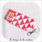 Pochette - porte clé - rouge triangle03 - GFC