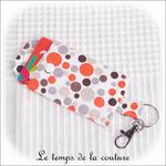 Pochette - porte clé - orange marron bulle03 - GFC