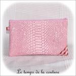 Pochette - droite - zippé - rose simili geometrique rose bordeaux 11 - GFC