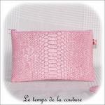 Pochette - droite - zippé - rose simili geometrique rose bordeaux 14 - GFC