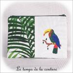 Pochette - droite - zippé - blanc vert feuillage br toucan01 - GFC