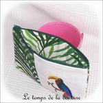 Pochette - droite - zippé - blanc vert feuillage br toucan03 - GFC