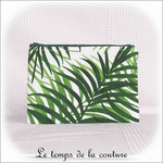 Pochette - droite - zippé - blanc vert feuillage br toucan04 - GFC