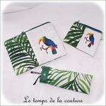 LOT Pochette - droite - zippé - blanc vert feuillage br toucan00 - GFC