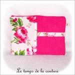 Pochette - droite - zippé - rose fushia vert imp fleur01 - GFC