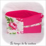 Pochette - droite - zippé - rose fushia vert imp fleur02 - GFC