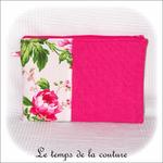 Pochette - droite - zippé - rose fushia vert imp fleur03 - GFC