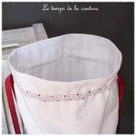Sac - pochon - rouge blanc broderie dentelle jouy33
