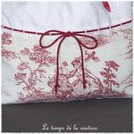Sac - pochon - rouge blanc broderie dentelle jouy35