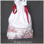 Sac - pochon - rouge blanc broderie dentelle jouy37