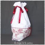 Sac - pochon - rouge blanc broderie dentelle jouy39