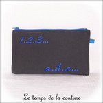 Pochette - droite - zippé - noir bleu br 123 abc01 - GFC