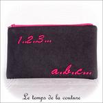 Pochette - droite - zippé - noir rose br 123 abc01 - GFC