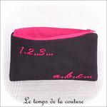 Pochette - droite - zippé - noir rose br 123 abc02 - GFC
