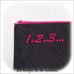 Pochette - droite - zippé - noir rose br 123 abc03 - GFC