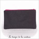 Pochette - droite - zippé - noir rose br 123 abc04 - GFC