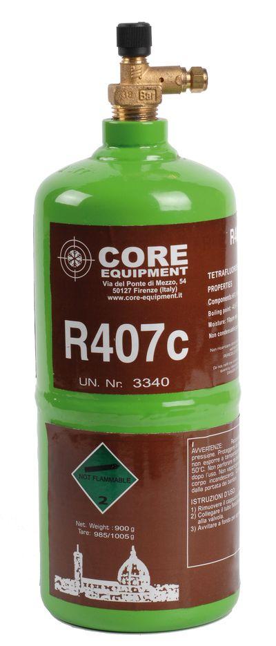 Bouteille réfrigérant rechargeable gaz R407C 900gr Core Equipment