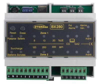 Centrale détection gaz industriel rail DIN 2 sondes BX 280 D-TEK