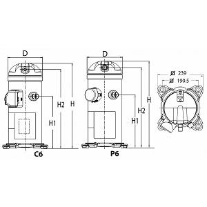 Compresseur scroll MP-HP triphasé R407c 400v HCP094T4LC6 Danfoss