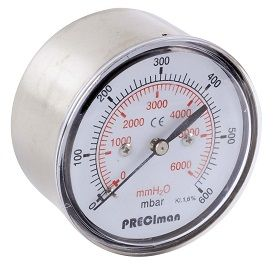 Manomètres en inox axial mbar en 1/4 et 1/2 - Preciman