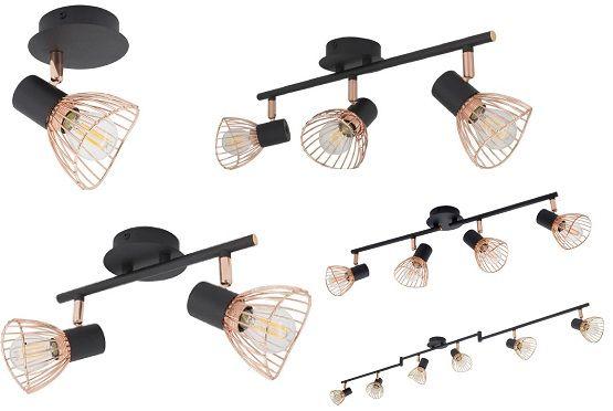 Lampe de plafond orientable Saban spots cuivre