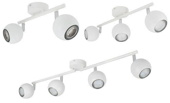 Lampe de plafond orientable Ates spots blanc