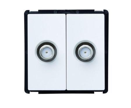 Module double prise satellite noir ou blanc