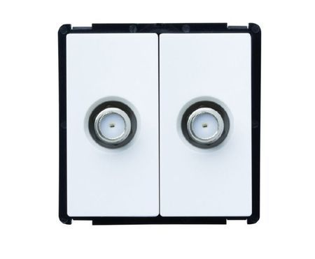 Module double prise TV blanc ou noir