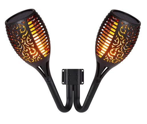Applique Torche double solaire LED effet flamme