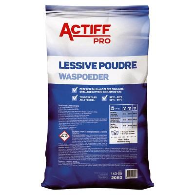 Lessive poudre tous textiles 20kg ACTIFF PRO